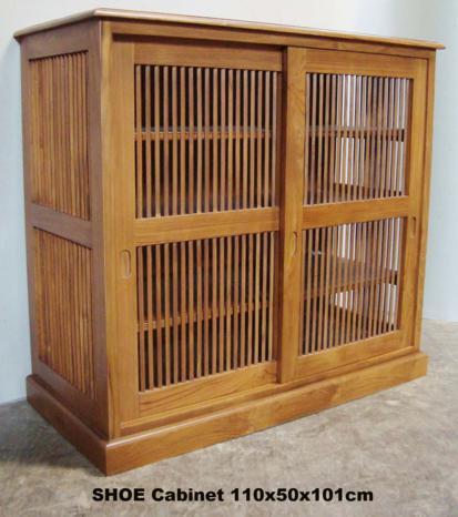 Slatted Door Cabinet & Bespoke Oak TV Cabinet With Louvered Doors